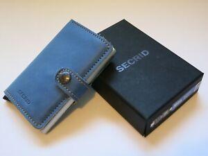 SECRID MINIWALLET INDIGO 3 SILVER Leather Credit Card Holder Wallet Handmade