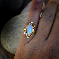 Designer Gift  AAA Rainbow Moonstone Gemstone 14K Solid Yellow Gold Ring Size 9