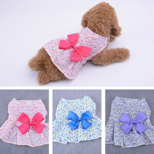 Pet Dress Print Floral Skirt Puppy Cat Small Dog Chihuahua Bow Dress XS-XL