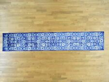 "2'6""x17' Wool and Silk Blue Tone on Tone Ancient Handmade XL Runner Rug R33455"