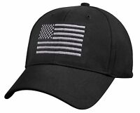 Rothco 8978 U.S. Flag Low Profile Cap, Black / Silver