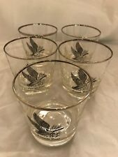 5 canada goose old fashioned bar glasses set of 5 silver platinum rims