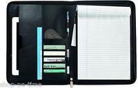 Travis & Wells Executive Zippered Black Leather iPad/tablets Padfolio - New
