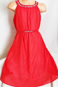 GIRLS RED GRECIAN STYLE SILVER SPARKLE TRIM CHIFFON PRINCESS PARTY DRESS age 3-4