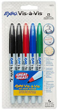EXPO Wet Erase 5 Markers Overhead Projection Vis Black Red Blue Green Fine Point