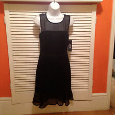 DKNY - Black Bodycon Dress with Sheer Silk panels NWT (Size USA 4)