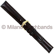 16mm Hirsch Ascot Dark Brown Genuine Leather Padded Stitched Watch Band Regular