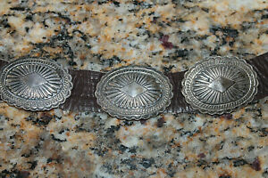 Vintage Unsigned Native American Stamped Sterling Silver Concho Belt Leather