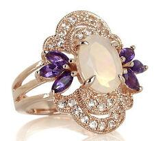 RARITIES Carol Brodie Ethiopian Opal and Gemstone Rose Vermeil Ring 6 $549