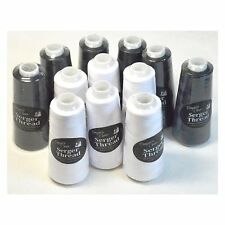 New!! Set Of 12 Black & White Serger Embroidery Thread Cones By Allary - New!!