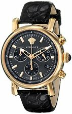 Versace Women's Day Glam Black Calf-skin Mother of Pearl Dial - Luxury Watch