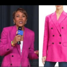 Theory Tailored Double Breasted Linen Fuchsia Pink Jacket Blazer Sz 4 NWT $535