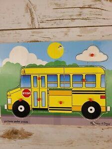 Melissa And Doug Wooden Peg Puzzle set of 2 School Bus & Farm Animals