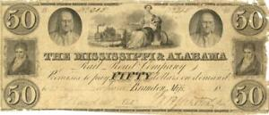 Mississippi & Alabama RR $50 Dollars Obsolete Currency 1837