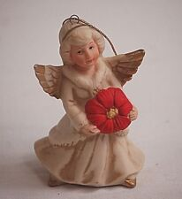 Classic Homco Angel Girl w Red Poinsettia Hanging Christmas Tree Ornament Xmas