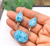 3 Gems NATURAL Dominican Larimar Necklace 925 Sterling Silver P81