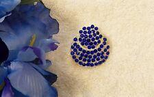 CLASSIC PIN BROOCH CIRCULAR DESIGN BLUE COSTUME STONES DAISY SILVER TONE VL-AU