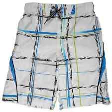 Boys White Plaid Cargo Swim Trunks Board Shorts 7