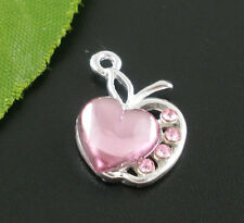 5 SILVER PLATED PINK RHINESTONE APPLE~HEART CHARM/PENDANT~Wine Glass Charm (18G)