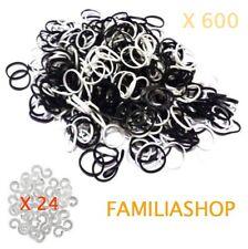 600 élastiques 300 BLANC + 300 NOIR 24 clips pour bracelet style Rainbow Loom