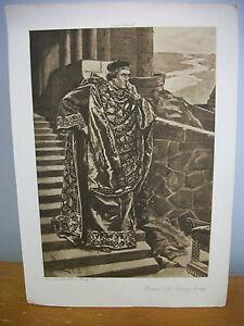 SIR HENRY IRVING As Becket by J Bernard Partridge circa 1895 Print