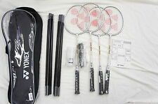YONEX 4 Players Badminton Set, 4 Racquets, Net, Poles, Shuttlecocks, Bag, etc