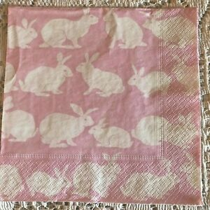 4 Paper Table Napkins for DECOUPAGE White Rabbits on Pink 3 ply