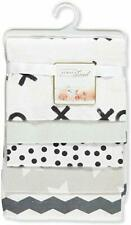 Rene Rofe 5-Pack Flannel Receiving Blankets - White/Black NWT FREE SHIPPING
