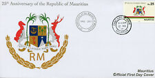 Mauritius 2017 FDC Republic 25th Anniv Coat of Arms Emblems 1v Set Cover Stamps