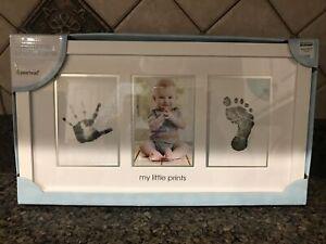 Pearhead Babyprints Newborn Baby Photo Frame Kit NWT White SIlver Bed Bath Beyon