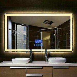 Smart Bluetooth Bathroom Mirror LED Frameless Rectangular Illuminated Modern New