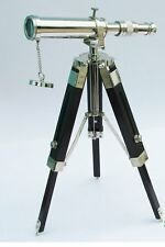"9"" Chrome Finish Telescope With Black Tripod Stand Decorative Collectible"