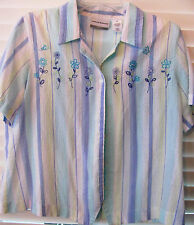 ALFRED DUNNER Petite 14P Striped Flower Blouse-Button Up-Short Sleeves
