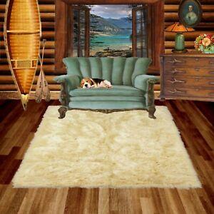 Beige Shag Faux Fur Area Rug, Rectangle, Faux Sheepskin Carpet, Bonded Suede