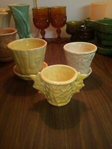 Vintage McCoy Pottery Planters Lot Of 3 ( read description)