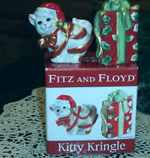 Fitz & Floyd Kitty Kringle Porcelain Salt & Pepper Set - Red Ribbon
