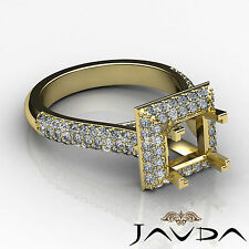Halo Diamond Engagement Princess Shape Huge Ring 1.4C 18k Yellow Gold Semi Mount