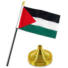 "Palestine Flag 4""x6"" Desk Set Table Stick Gold Base"