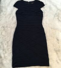 Tadashi Shoji Women's Dress Size L Navy Crisscross Bodycon Wedding Date Night