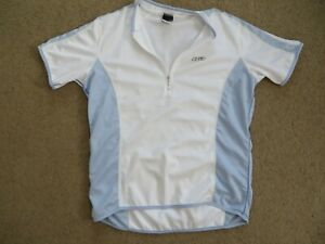 GREAT Louis Garneau LG white+light blue short-sleeve cycling jersey - womens L