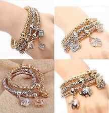 3 Armbänder rosegold gold Metall Straß bracelet elastisch mit Charms Anhänger