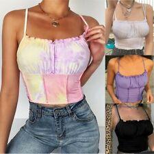 UK Women Ruffle Crop Top Summer Sleeveless Party Blouse Shirt Boob Cami Vest Top