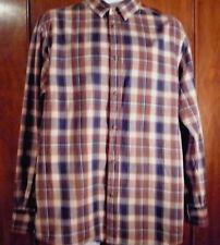 "men's shirt brown  cream and navy blue checks L 16 "" collar cotton long sleeves"