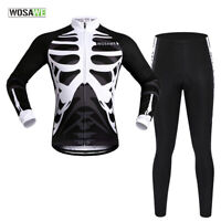 Men's Cycling Sets Full Zip Long Sleeve Jersey Gel Padded Pants MTB Bike Riding