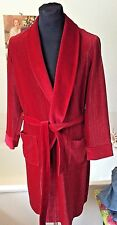 """vintage 1970's St. Michael red lush velour gold striped  dressing gown ~S 36-38"""""""