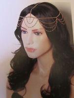 Women gold cross metal wave head chain fashion hair piece jewelry bling style