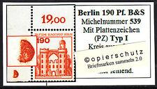 ❷❾  Berlin B&S 539 PZ Typ I Plattenzeichen Ecke 1 Eckrand 1 Bogenecke OL RAR