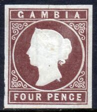 GAMBIA Queen Victoria 1874 Four Pence Brown IMPERF Watermark Crown CC SG 5 MINT