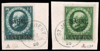 Saar #38-39 Used on Pieces CV$1100.00 1920 OVERPRINT HIGH VALUES [Signed Calves]