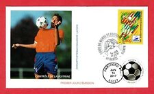 1997 FRANCE FDC, SOCCER, W/DUAL CANX US 2017 SOCCER BALL STAMP, CACHETED